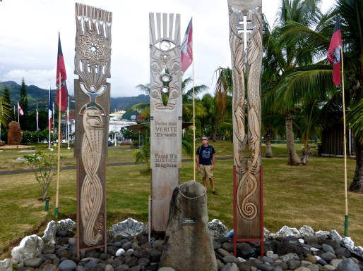 Tahiti - August 2014 - Memorial Site For Nuclear Testings - Captain With Memorial